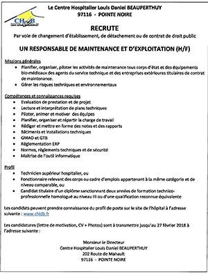 Le Site Du Chldb Recrutement D Un Responsable De